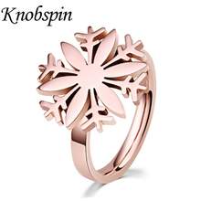 Fashion Snowflake Shape Women Rings Romantic Elegant Rose Gold Color Stainless Steel Ring Jewelry US Size 5-9 bague femme(China)