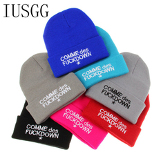 Letter comme des fuckdown Knitted Wool Real Natural Hat Female Winter Braid Cap Headgear For Women Skullies Beanies Hip Hop(China)