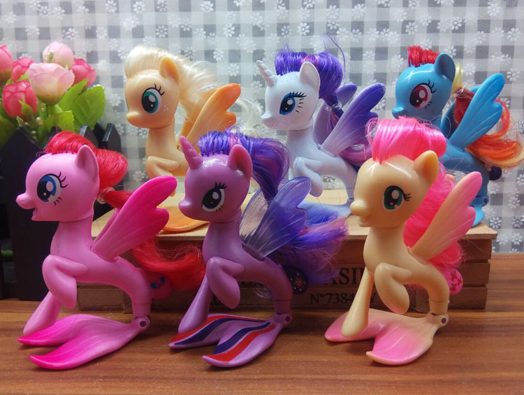 6pcs/set Twilight Sparkle Rainbow Dash Apple Jack Rarity Fluttershy Pinkie Pie Unicorn Fish Ponies Action Toy Figures Kids Toys<br>