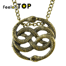 Steampunk Bronze Gold-Color Necklace Vivid Cute Two Lingering Snake Silver Color Pendant Statement necklace For Women(China)