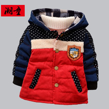2015 New Boys Winter Outerwear Cotton Thickened Korean Coat Baby-snowsuit Jacket Warm Parkas Children's Winter Clothing 1 Piece
