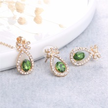 Dark Green crystal jewelry set bowknot winter new year gift jewelry necklace earrings 2 in set 80202(China)