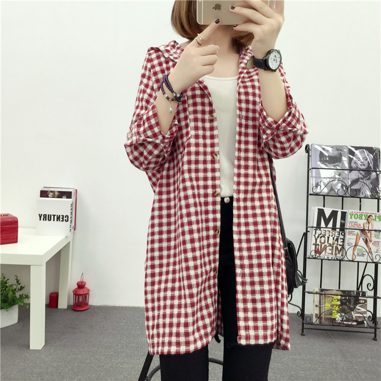 Brand Yan Qing Huan 2018 Spring Long Paragraph Large Size Plaid Shirt Fashion New Women's Casual Loose Long-sleeved Blouse Shirt 11 Online shopping Bangladesh