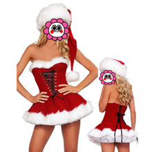 Sexy Sweetheart Miss Santa Dress Sexy Adult Women Christmas Costume front lace up costumes 2017 wholesale