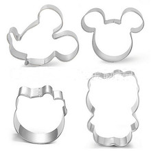 Hot sale1set/4pcs Metal Cookie Cutter Hello Kitty Mickey Stainless Steel Biscuit Mould DIY Cake Mold Decorating Cupcake Tools