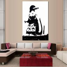 1 PCS Banksy Art Mouse With Radio Print on Canvas Printings Black and White Animal Picture for Home Decor(China)