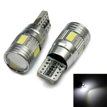 2pcs 5630 SMD 3w T10 W5W LED Car Wedge Side Park Tail Light Bulb White Bright Lens