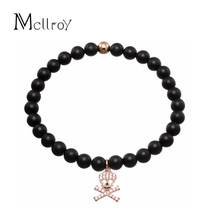 Mcllroy Men brracelet One Piece Skull Charm bracelets Nature Stone beads Micro mosaic pave 14mm Zircon Cooper Pulseira masculina(China)