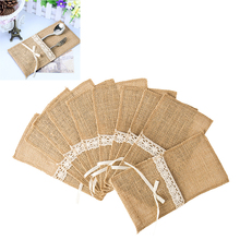 Buy 10Pcs/Lot Cheap Wedding Tableware Sets Hessian Jute Cutlery Pocket Knife Fork Burlap Lace Pouch Bag Wedding Party Supplies for $4.24 in AliExpress store