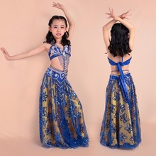 2016 New Cute Children Indian Professional Belly Dance Costume Set 3/2pcs Vestidos Kids Bellydance Wear Bra&Belt&Skirt 8 Color