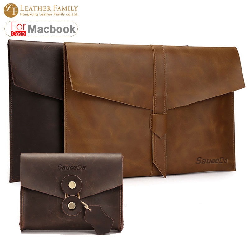 For macbook pro 13 case original retro Genuine cow Leather bag for macbook air 11.6 12 15.4inch laptop with Mouse Charger pouch<br><br>Aliexpress