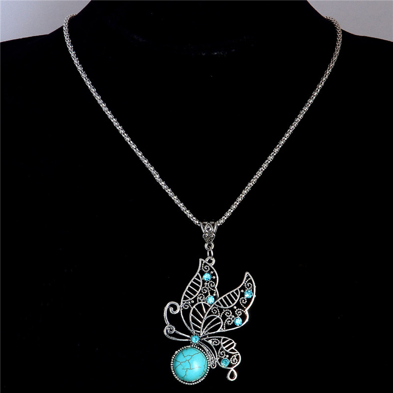 Free Shipping Rhinestone Crystal Butterfly Pendant Necklace Natural Stone Necklace Lovely Jewelry Sweater Chain TL214(China)