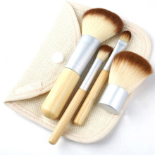 4pcs Make up Brushes Set Natural Bamboo Handle Blending Makeup Brush Hot Cosmetics Tool Kit Powder Brushes For Women(China)