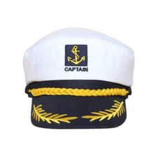 White Yacht Captain Navy Marine Skipper Ship Sailor Military Nautical Hat Cap Costume Adults Party Fancy Dress