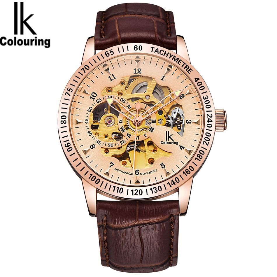 IK Fashion Orologio Uomo Mens Rose Gold Skeleton Auto Mechanical PU Leather Strap Watches Original Box Gift Free Ship<br>