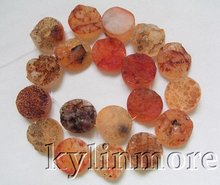 20mm Carnelian Rough Coin Beads 15.5""