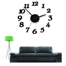 DIY digital large decorative wall clocks modern design self adhesive wall clock sticker big silent kitchen watch for home decor(China)