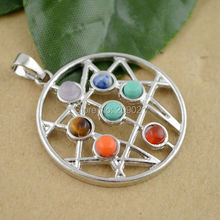 Finding - 34MM Orgone Healing Chakra Stone Point Beads Pendant Charms Jewelry Fit Necklace
