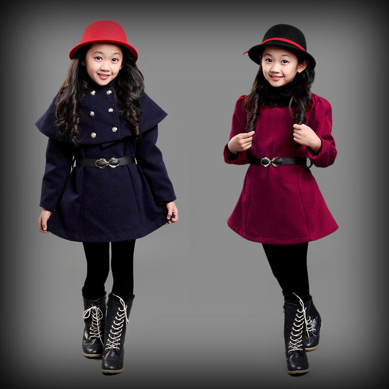 2015 autumn and winter fur collar girls clothing baby child cloak bat sleeve dress outerwear Woolen shawl dress 2pcs  wholesale<br><br>Aliexpress