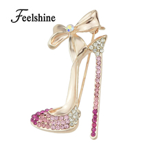 Gift Jewelry Shining Rose Gold Color Silver Color with Colorful Rhinestone High-heeled Shoes Brooch Pins For Women Accessories