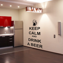 Kitchen Character Wall Sticker Keep Calm And Drink A Beer Wall Decals Vinyl Removable Living Room Wall Decor Stickers(China)