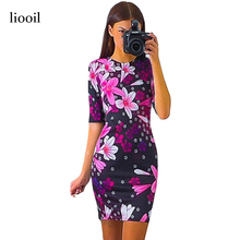 Liooil 2017 New Summer Women Flower Dress O-Neck Half Sleeve Fashion Lily Print Casual Pencil Bodycon Dress Sexy Womens Clothing
