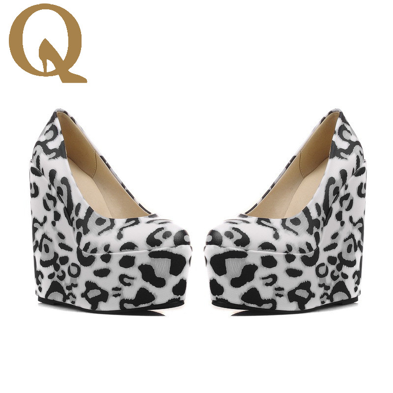 Spring Personalized Fashion Leopard Grain Super High Heels Plus Big Size Shoes 35-43 Platform Shoes Sexy Party  Wedding Shoes<br>