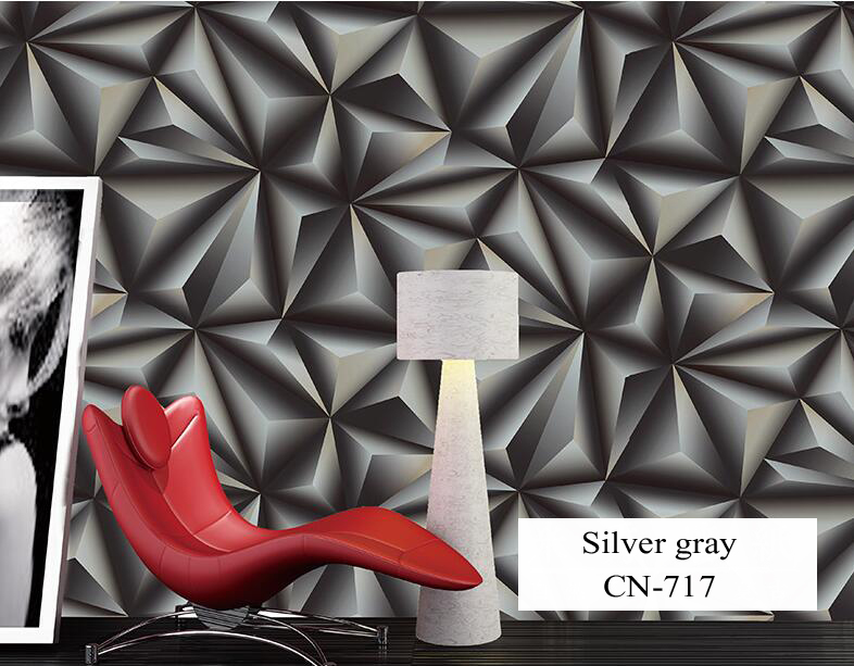 Wallpaper for Walls 3 D Modern Trdimensional Geometry 4D Tv Background Wall paper Roll Silver Gray wallpapers for Living Room<br>