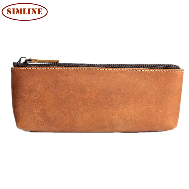 Vintage Handmade 100% Genuine Crazy Horse Leather Cowhide Men Women Long Zipper Wallet Wallets Coin Purse Pen Pencil Bag Case<br><br>Aliexpress