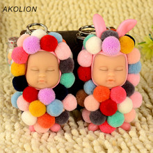 Luxury Cute Color Little Fur Ball Sleep Doll Keychain Cartoon Plush Keyring Women Girl Car Bag Charm Key Chains Purse Jewelry