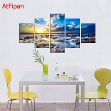 New Fashion Unframed 5 Piece Free Shipping Wall Art Picture Stone Sunset Modern Paintings Home Decor Living Room Canvas Printed(China)
