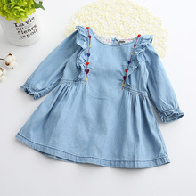 Girls Denim Dress 2017 Children Clothing Spring Casual Light Blue Girls Jeans Heart Embroidery Dress Kids Clothes