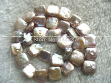 "WOW! DIY  freshwater pearl purple square 12-14mm 15"" nature"