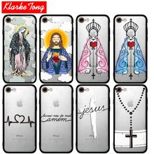 KlarkeTong Amen Christ Cross Jesus Case For iPhone 7 6 6s Plus 5 5s SE Hybrid Silicone Matte Hard PC Protective Phone Back Cover