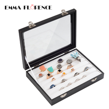 Emma Florence 2017 New Fashion Quality PU Leather Jewelry Boxes Display And Packaging Casket for Decorations Rings Stand Sale(China)