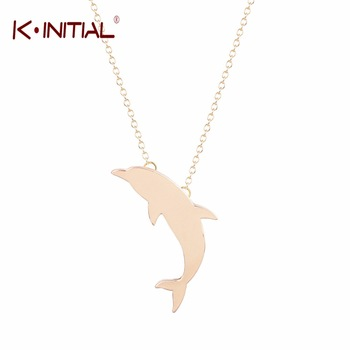 1Pcs Cute Gold Silver Dolphin Necklace Pendant Women Fashion Fish Choker Necklace Statement Chain Gift Charm Necklaces Jewelry