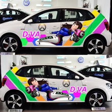 OverWatch Game Stickers D.VA Car Door Stickers Paint Racing Decal ACGN Drift Sticker Auto Body Camouflage Vinyl 3D Car Decals