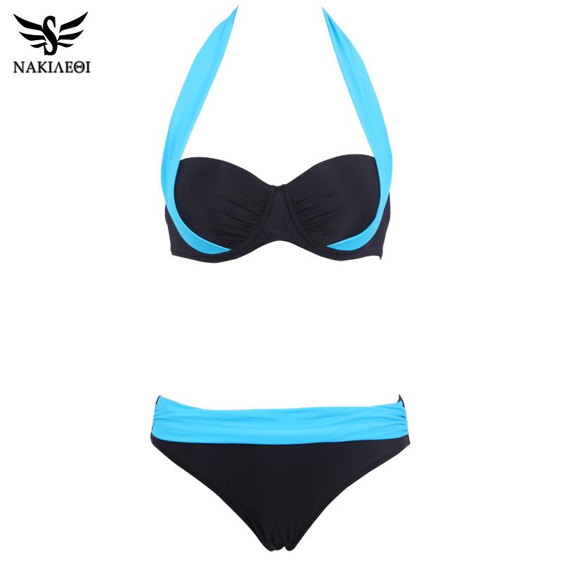 NAKIAEOI 19 New Sexy Bikinis Women Swimsuit High Waisted Bathing Suits Swim Halter Push Up Bikini Set Plus Size Swimwear 4XL 18