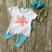 new arrival Tassels cotton girls clothes baby kids summer aqua starfish capris boutique set with matching bow and necklace set