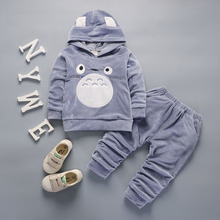 Fashion Children Boys Girls Cartoon Clothing Suits Baby Velvet Hoodies Pants 2Pcs/Sets Kids Winter Clothes Toddler Tracksuits