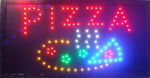 2017 led pizza store open sign hot sale 10x19 inch semi-outdoor Ultra Bright flashing pizza store led sign