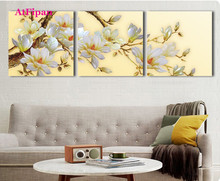 AtFipan White Orchid Flower Wall Pictures For Living Room Unframed Canvas Painting HD Modular Pictures Hot Cuadros Decorative