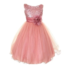 Princess Girl O-neck Sleeveless Sequined Floral Ball Gown Party Dresses One Piece Daily Dress(China)