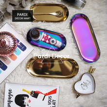 Fashion Gold color oval plate dessert plate storage plate food decorations 1pc/lot(China)