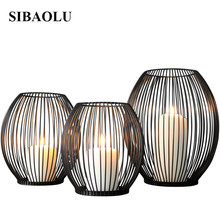SIBAOLU Home Decoration Metal Candle Holder Stand Pillar Iron Black Europe Candlestick Wedding Decor Big Candlestick Candelabra