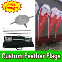 Free Design Single Sided Cross Base Teardrop Flag Signs Advertising Teardrop Banner Stands Custom(China)