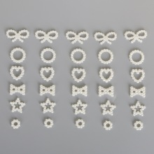 100PCS Imitation Plastic ABS Pearl Beads Pendant Ivory Star/Bow/Heart Beads For Scrapbook DIY Jewelry Handmade Craft Making