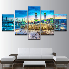 Modern On The Wall Art Modular Pictures 5 Panel Muslim Islam Building For Living Room Home Decor Abstract Painting On Canvas(China)