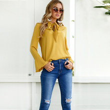 Buy Long Flare Sleeve Solid Yellow T Shirt Women Tops Summer Autumn 2017 T-Shirt Female Fashion Casual Ladies tshirt Bow Femme for $7.99 in AliExpress store