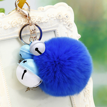 2017 new charm fashion key chain plush key ring bell car key holder female bag pendant plush jewelry women keychain
